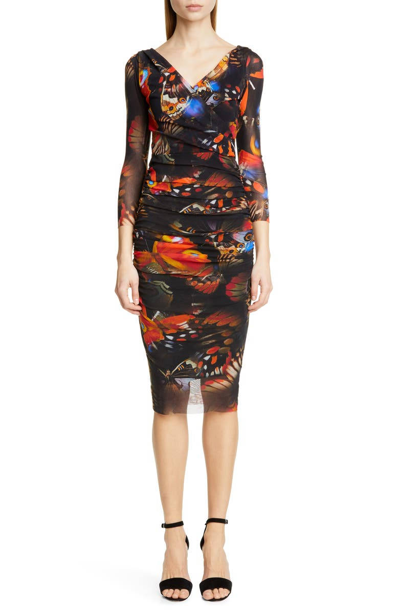 FUZZI Butterfly Print Ruched Dress, Main, color, 001