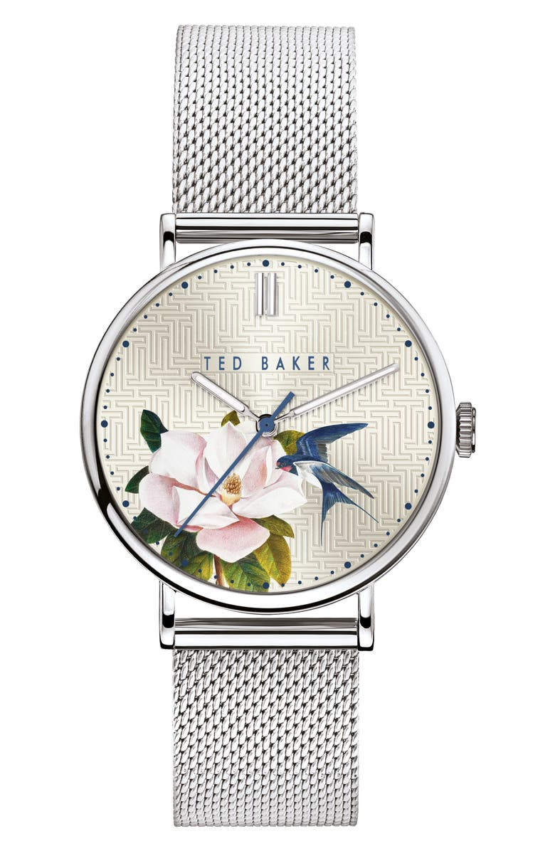 TED BAKER LONDON Phylipa Flowers Mesh Strap Watch, 37mm, Main, color, 040