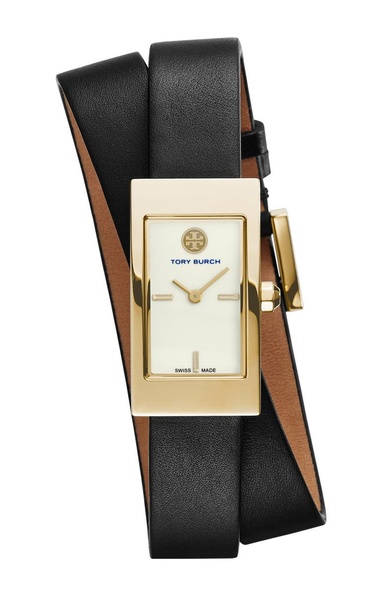 TORY BURCH 'Buddy Signature' Rectangular Wrap Leather Strap Watch, 17mm x 31mm, Main, color, 001