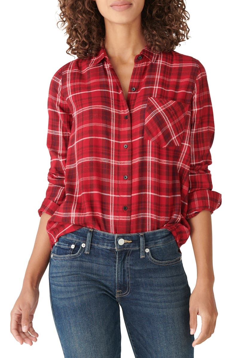 LUCKY BRAND Metallic Thread Plaid Cotton Blend Shirt, Main, color, RED MULTI