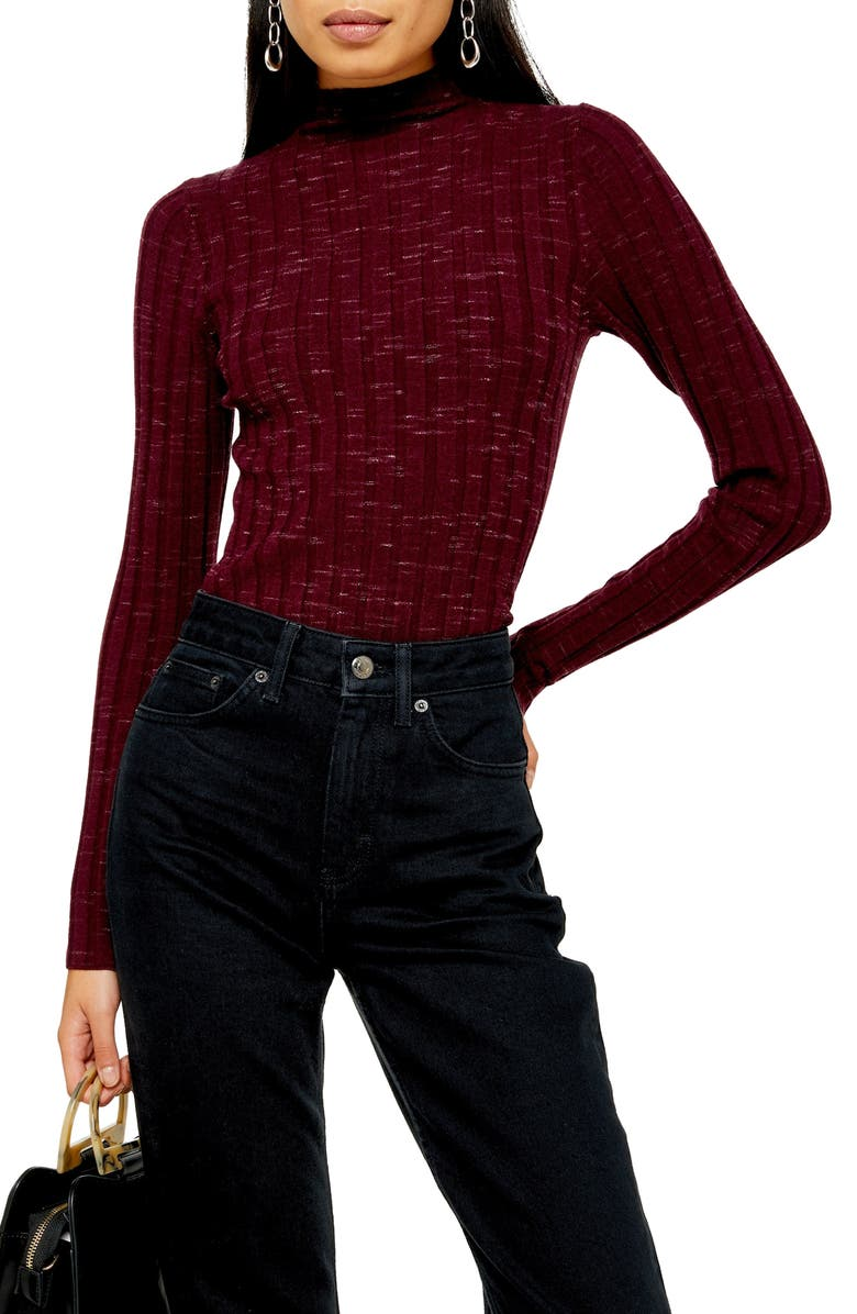 TOPSHOP Marled Ribbed Funnel Neck Sweater, Main, color, 500