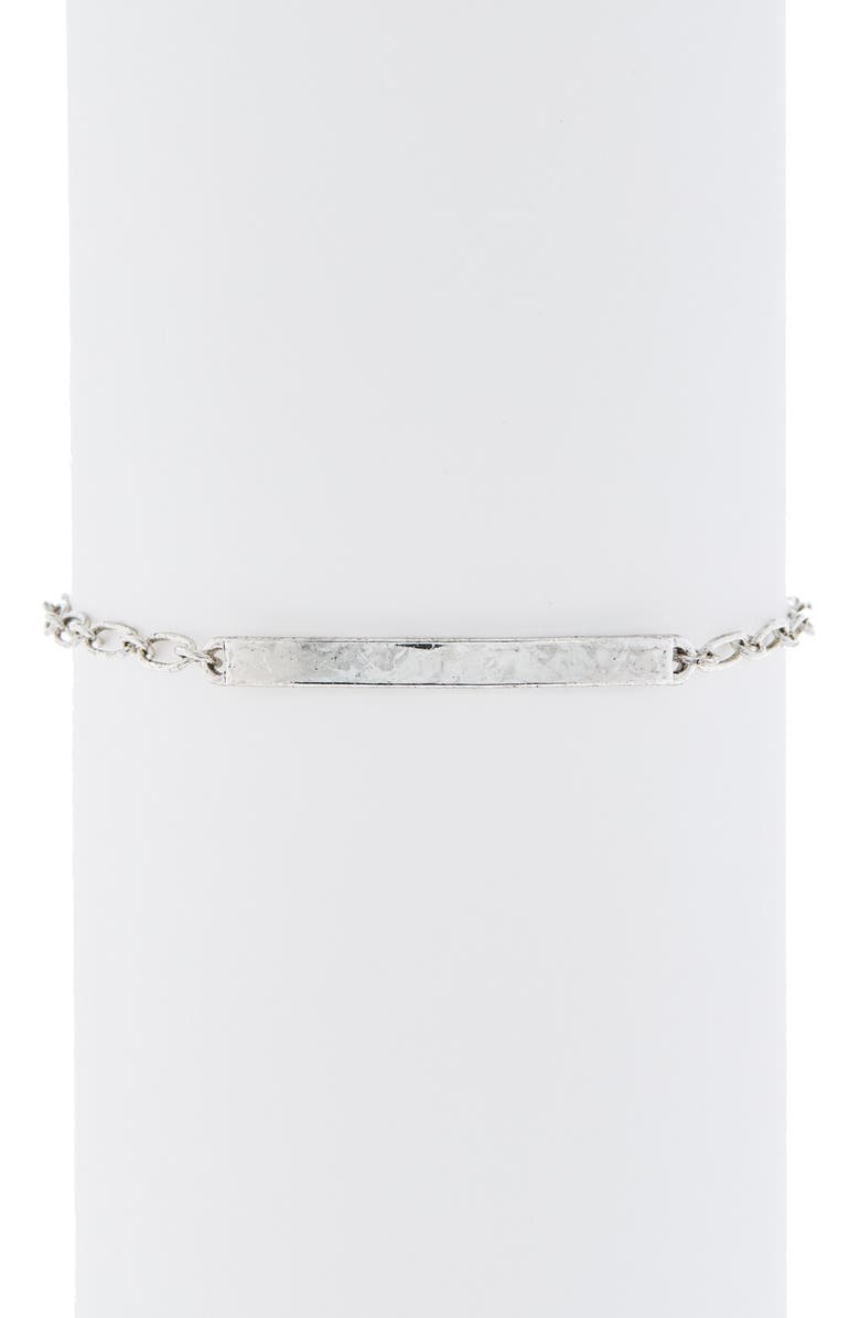 ABOUND ID Plaque Thin Link Bracelet, Main, color, SILVER