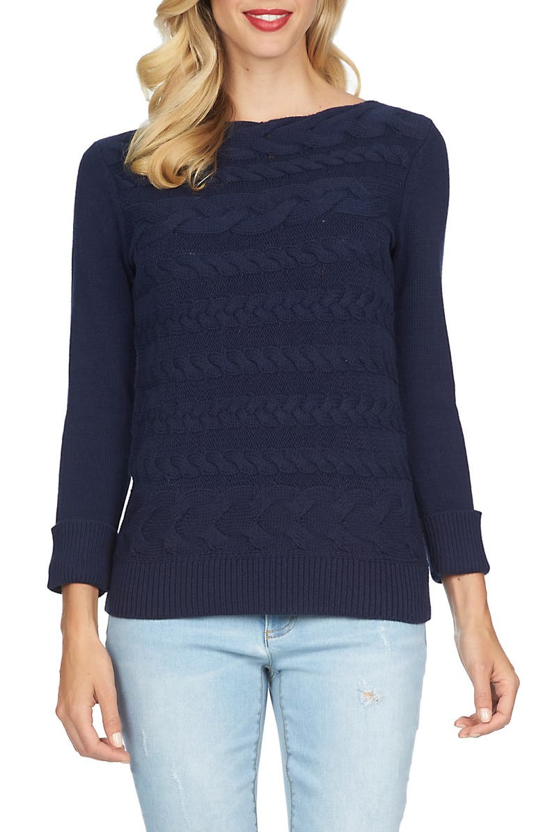 CECE by Cynthia Steffe Horizontal Cable Knit Sweater, Main, color, 432