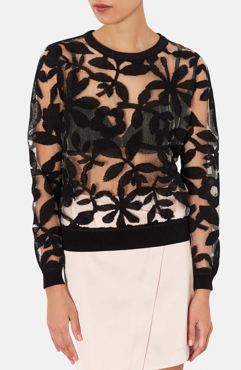 TOPSHOP Floral Mesh Sweater, Main, color, 001