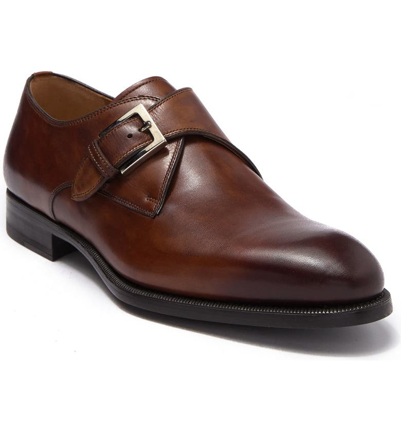 MAGNANNI Brodie Leather Monk Strap Loafer, Main, color, TABACO