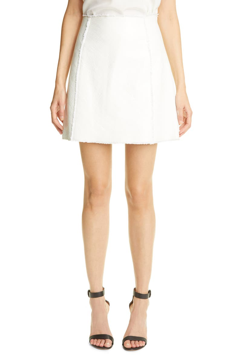 ST. JOHN COLLECTION Leather & Tweed Bonded Miniskirt, Main, color, White