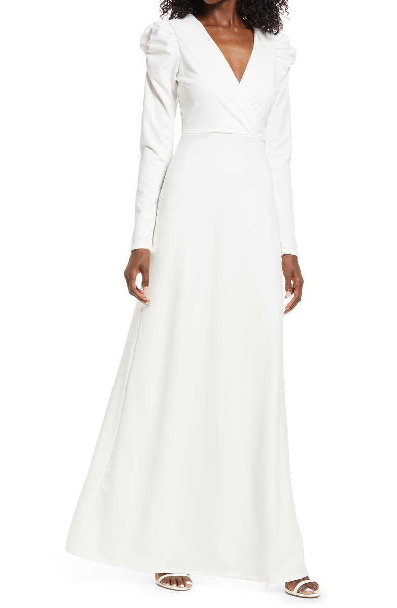 LULUS With a Passion Long Sleeve Gown, Main, color, WHITE
