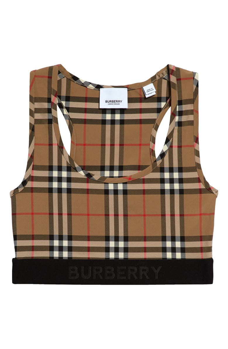 BURBERRY Dalby Check Sports Bra, Main, color, ARCHIVE BEIGE IP CHK