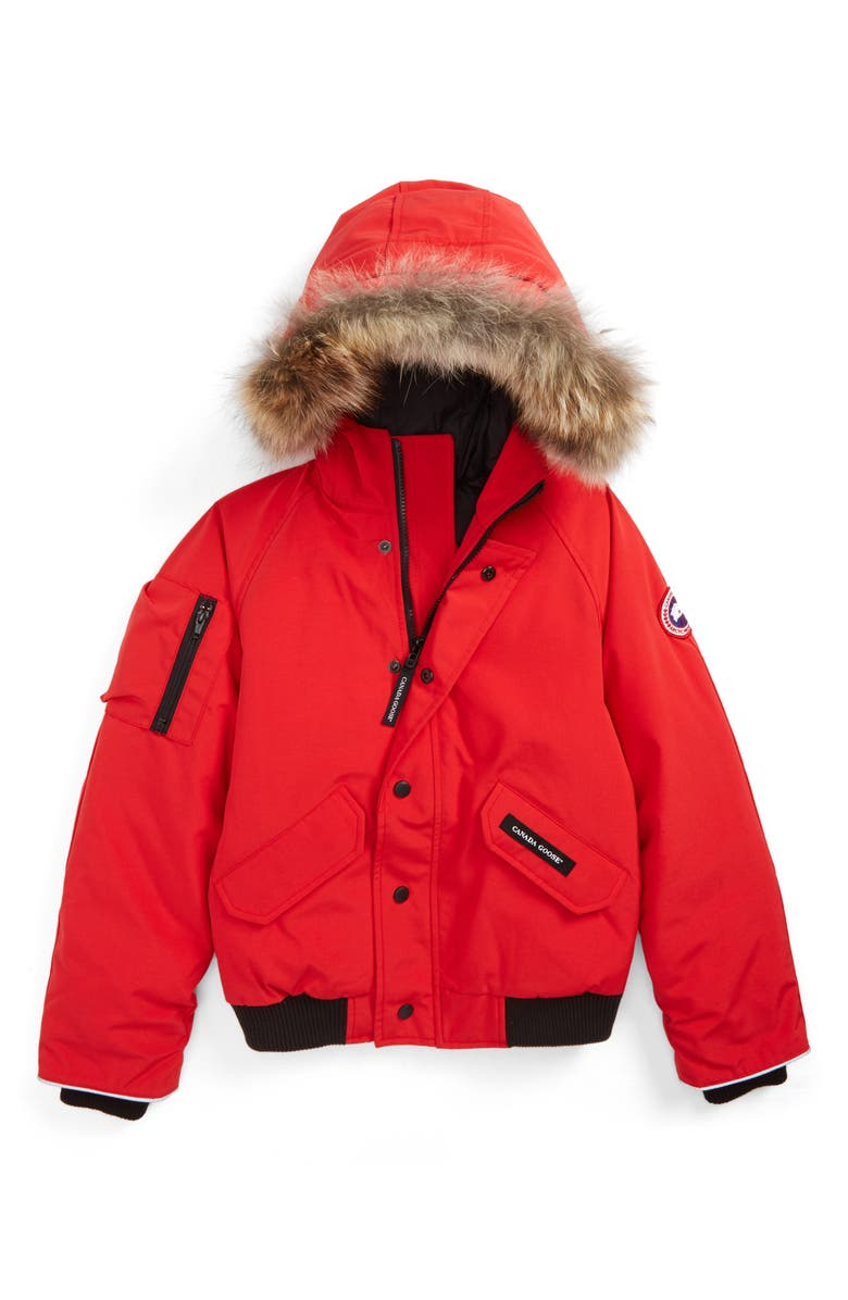 CANADA GOOSE 'Rundle' Down Bomber Jacket with Genuine Coyote Fur Trim, Main, color, 600