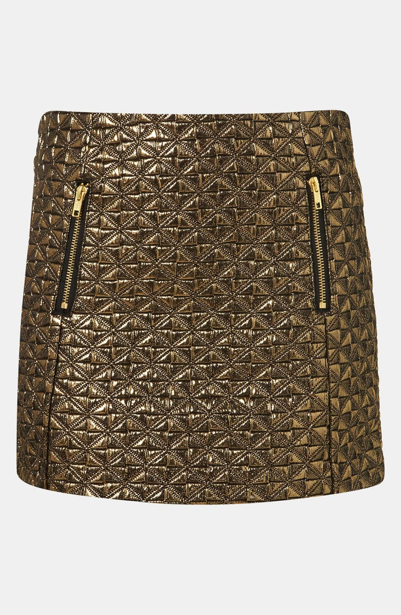 TOPSHOP Metallic Jacquard Miniskirt, Main, color, 710