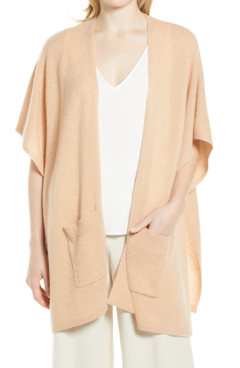 NORDSTROM Recycled Cashmere Ruana, Main, color, BEIGE