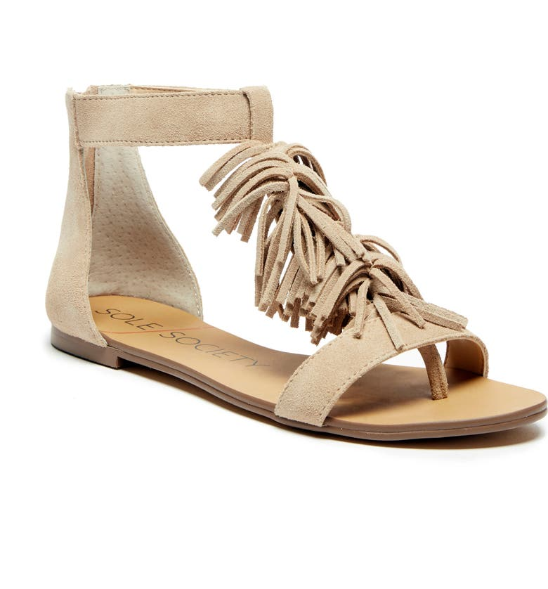 SOLE SOCIETY Koa Fringed T-Strap Sandal, Main, color, 202