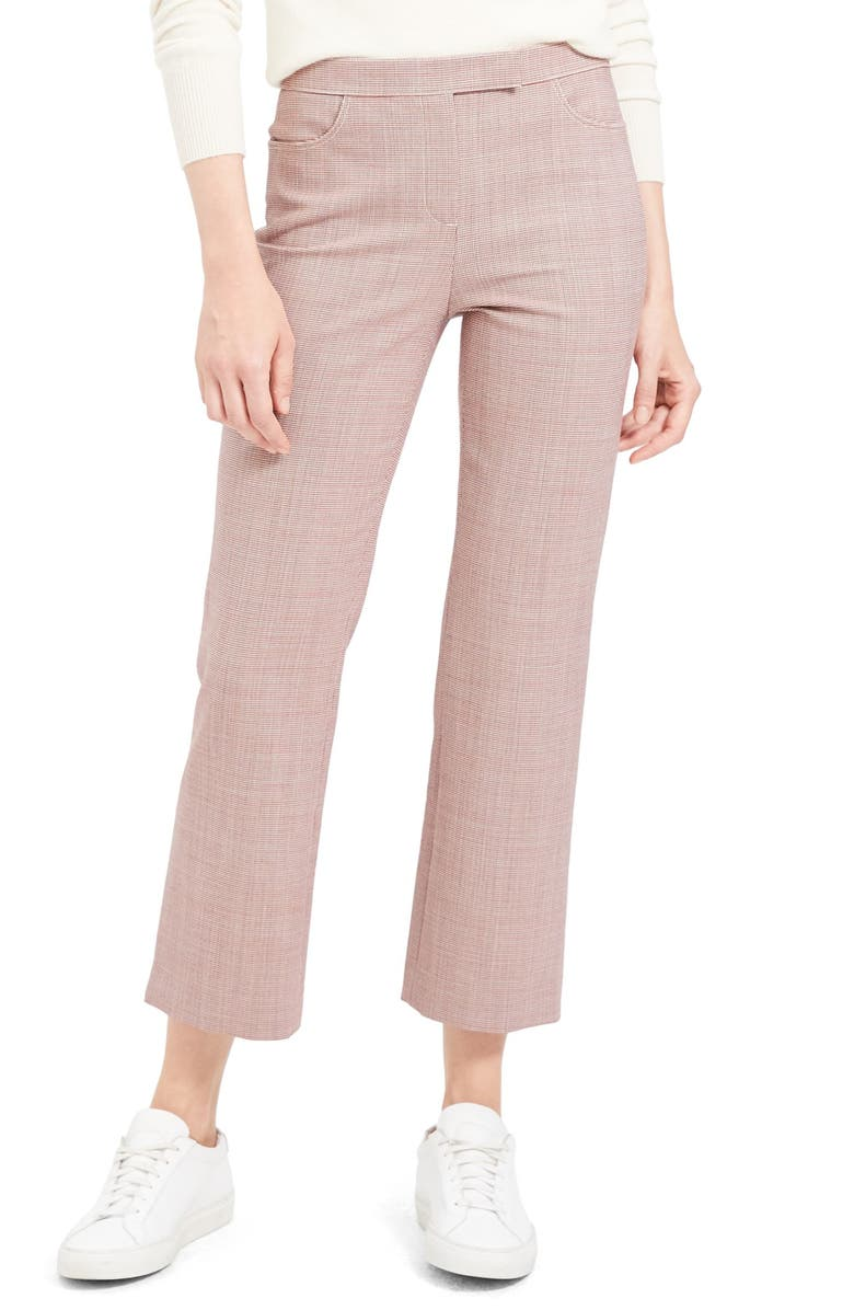 THEORY Crop Trousers, Main, color, RED MULTI HOUNDS PRINT
