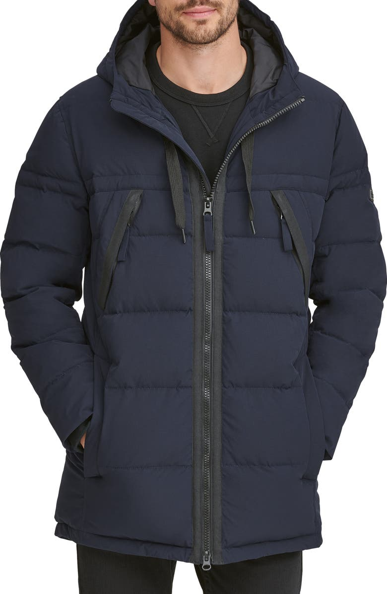 MARC NEW YORK Holden Water Resistant Down & Feather Fill Quilted Coat, Main, color, INK