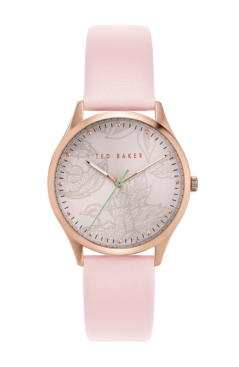 TED BAKER LONDON Women's Belgravia Pink Leather Strap Watch, 36mm, Main, color, ROSE GOLD/ PINK/ PINK