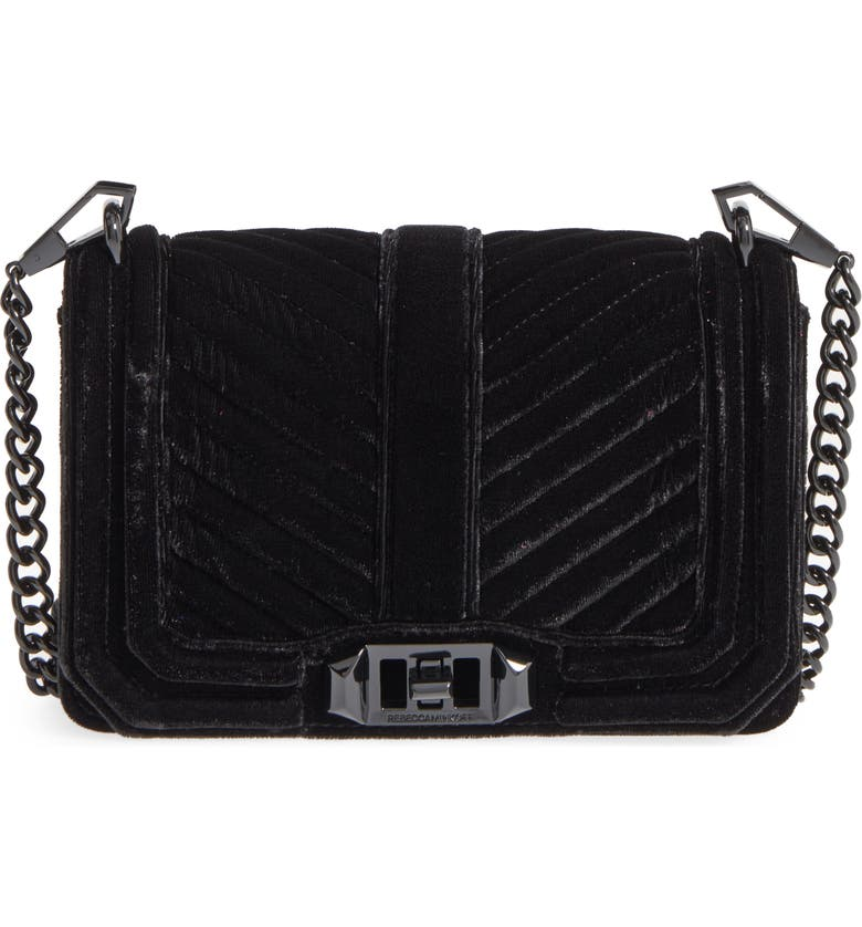 REBECCA MINKOFF Small Love Quilted Velvet Crossbody Bag, Main, color, 001