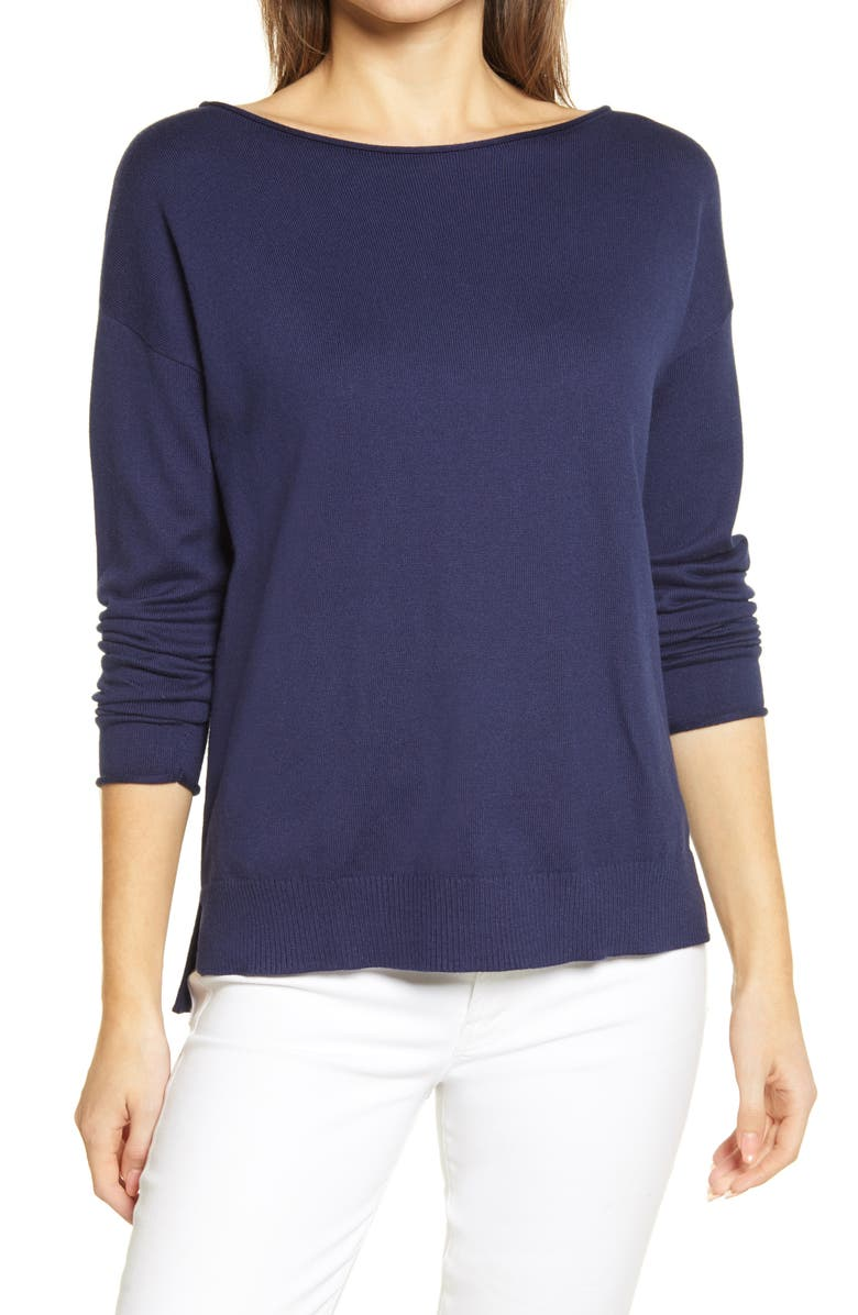 CASLON<SUP>®</SUP> Boatneck Sweater, Main, color, YELLOW - IVORY MARIE STRIPE