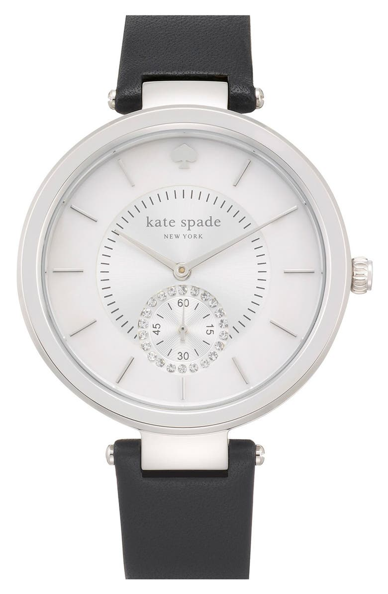 KATE SPADE NEW YORK 'perry' crystal accent leather strap watch, 38mm, Main, color, 001
