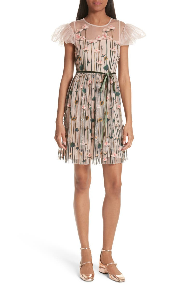 RED VALENTINO Floral Embroidered Dress, Main, color, NUDE