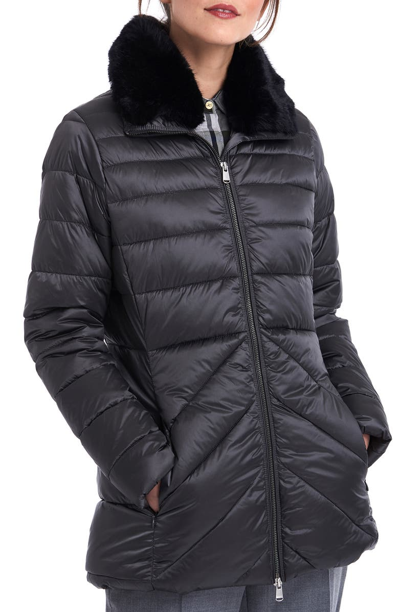 BARBOUR Shannon Mix Quilted Puffer Coat with Faux Fur Collar, Main, color, 020