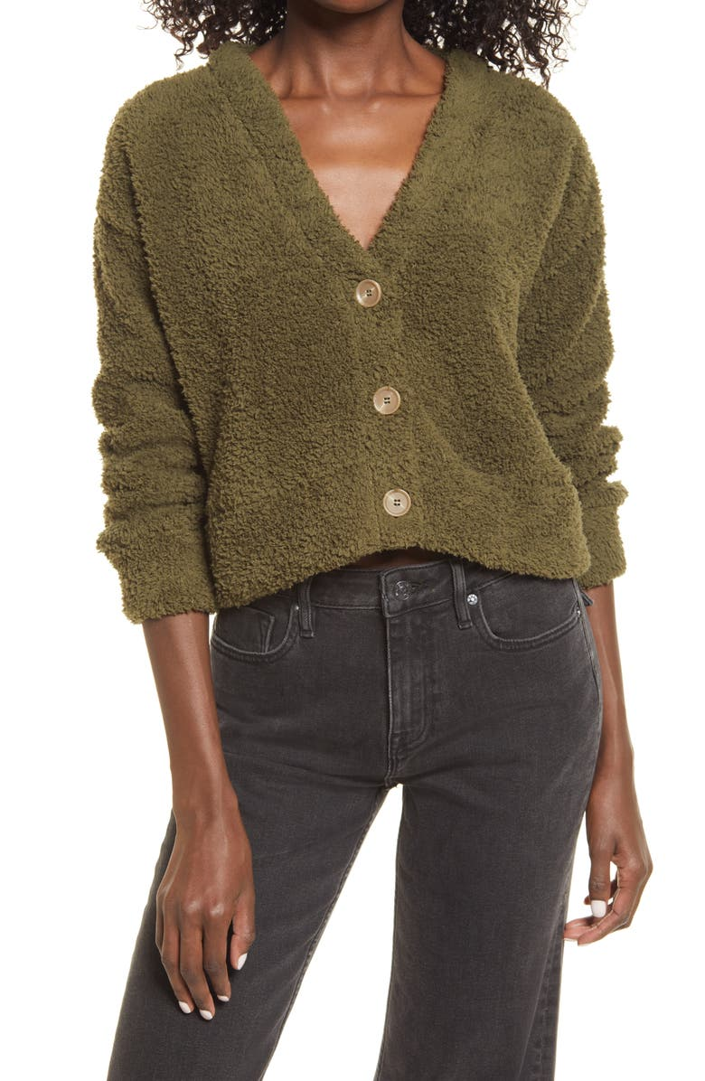 BP. Cozy Fleece Cardigan, Main, color, OLIVE NIGHT
