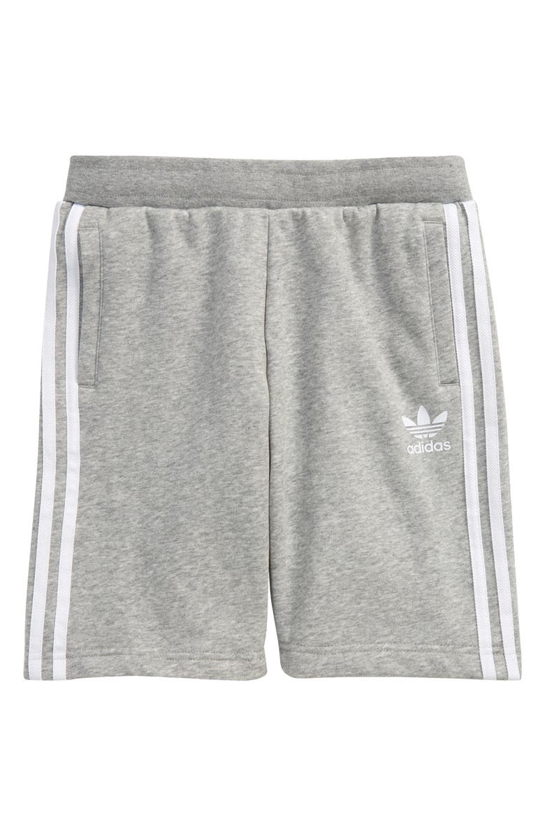 ADIDAS ORIGINALS adidas Kids' Originals 3-Stripes Fleece Shorts, Main, color, MEDIUM GREY HEATHER/ WHITE