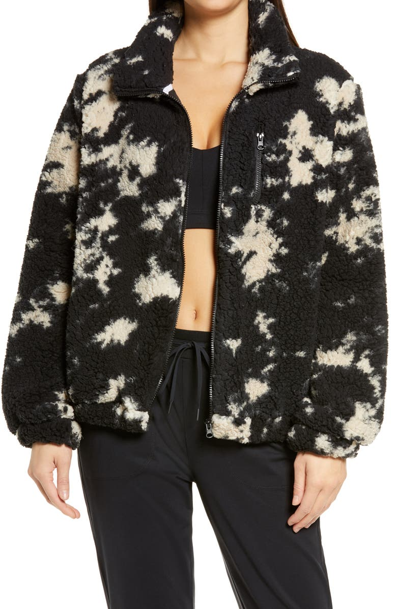 ZELLA Faux Fur Print Jacket, Main, color, BLACK- IVORY TIE DYE