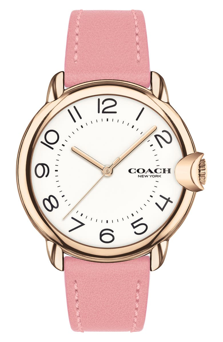 COACH Arden Leather Strap Watch, 36mm, Main, color, WHITE
