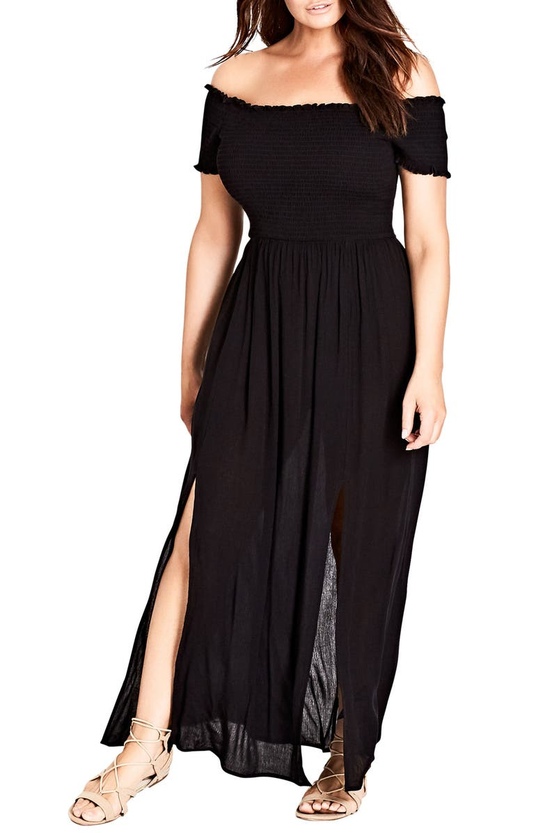 CITY CHIC Smocked Off the Shoulder Maxi Dress, Main, color, SOLID BLACK