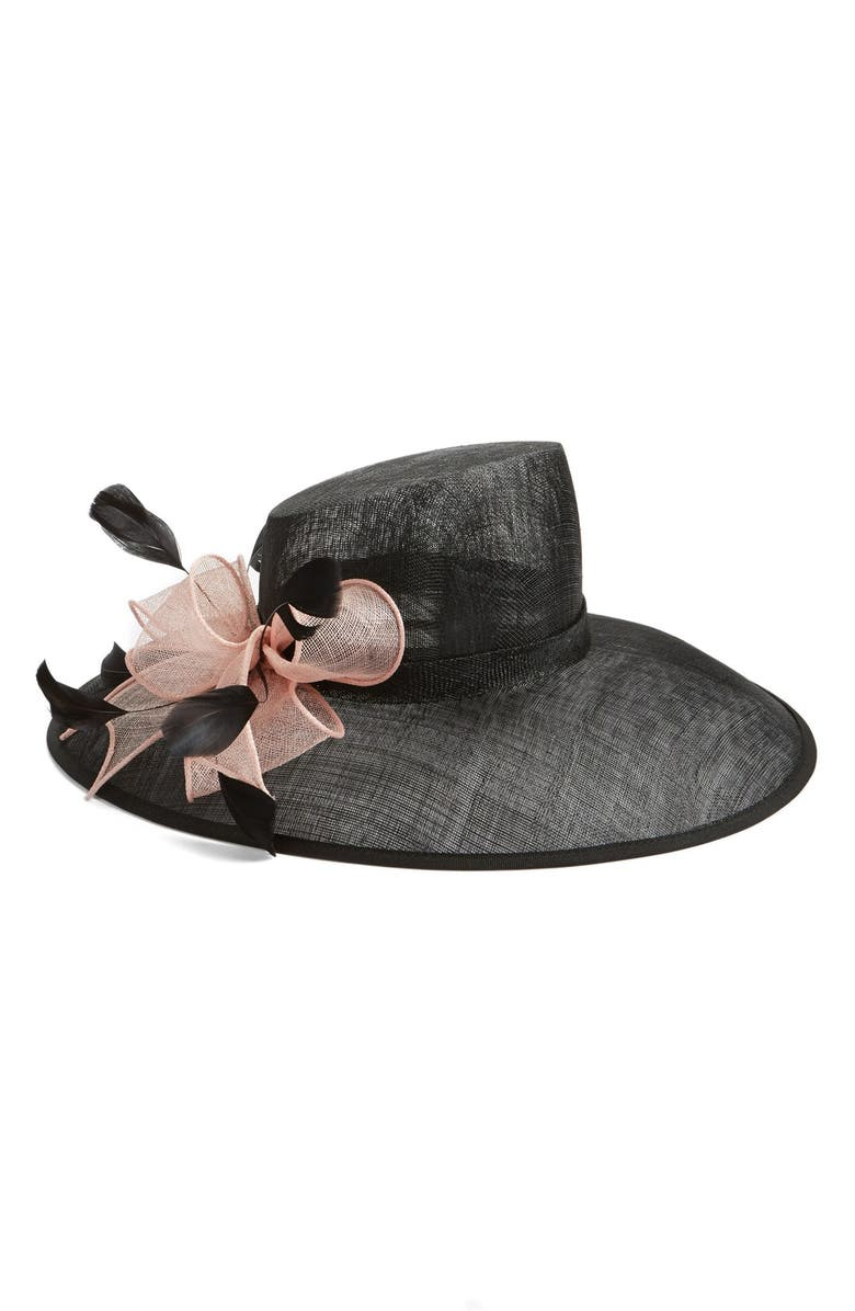 NORDSTROM Asymmetrical Sinamay Hat with Flower, Main, color, 001
