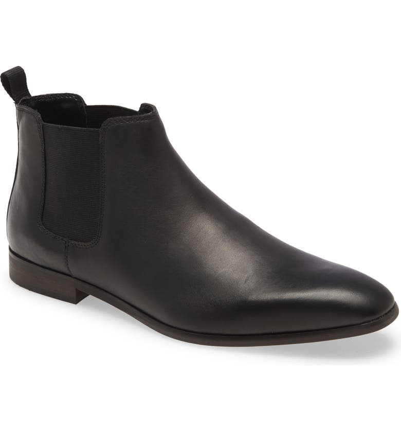 BP. Easton Water Resistant Chelsea Boot, Main, color, BLACK LEATHER