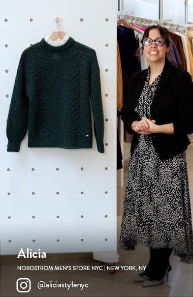 Molliey Lace Detail Mock Neck Sweater, sales video thumbnail