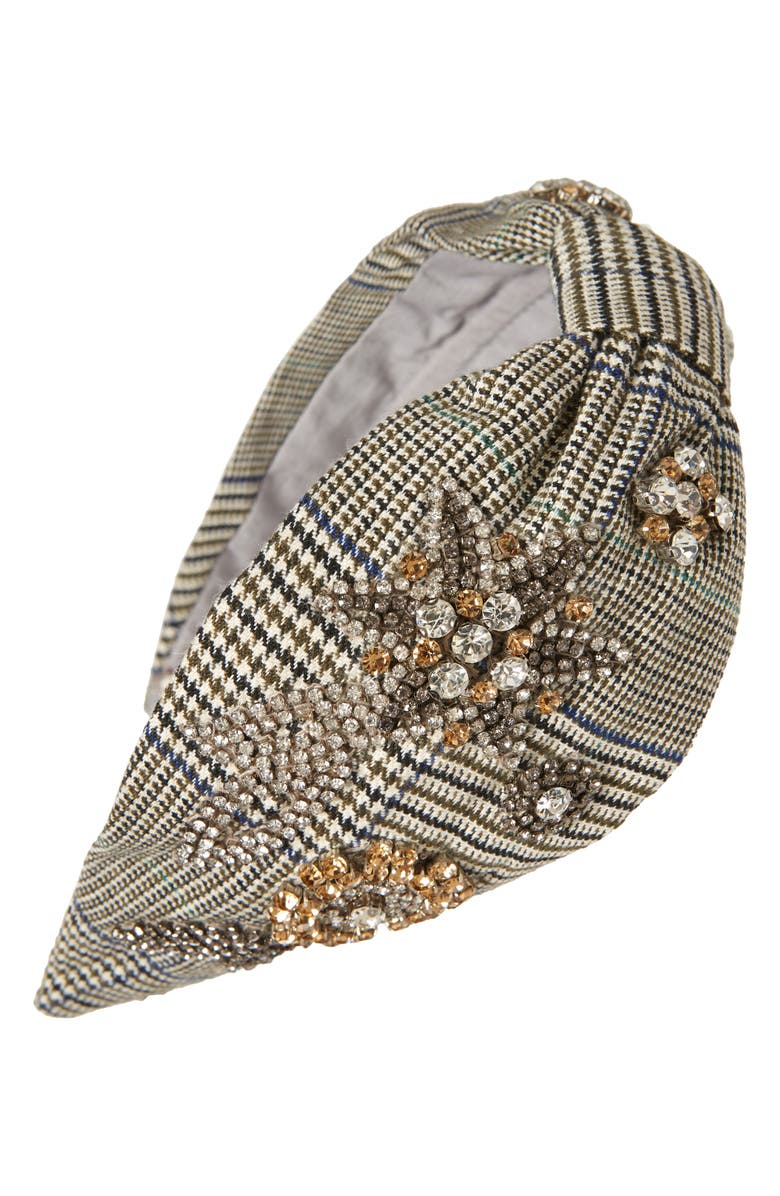 NAMJOSH Embellished Plaid Headband, Main, color, 020