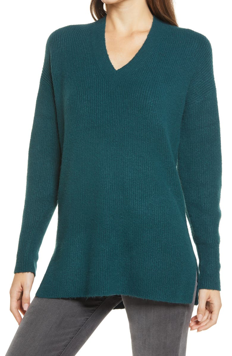 HALOGEN<SUP>®</SUP> Cozy V-Neck Tunic Sweater, Main, color, GREEN PONDEROSA