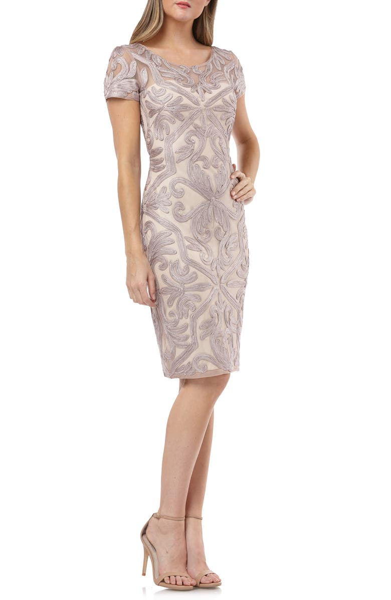 JS COLLECTIONS Soutache Embroidered Cocktail Dress, Main, color, 532