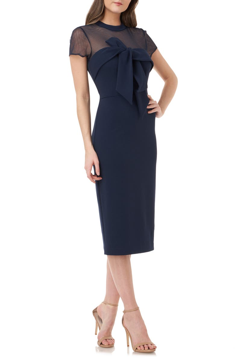 JS COLLECTIONS Bow Detail Midi Dress, Main, color, NAVY