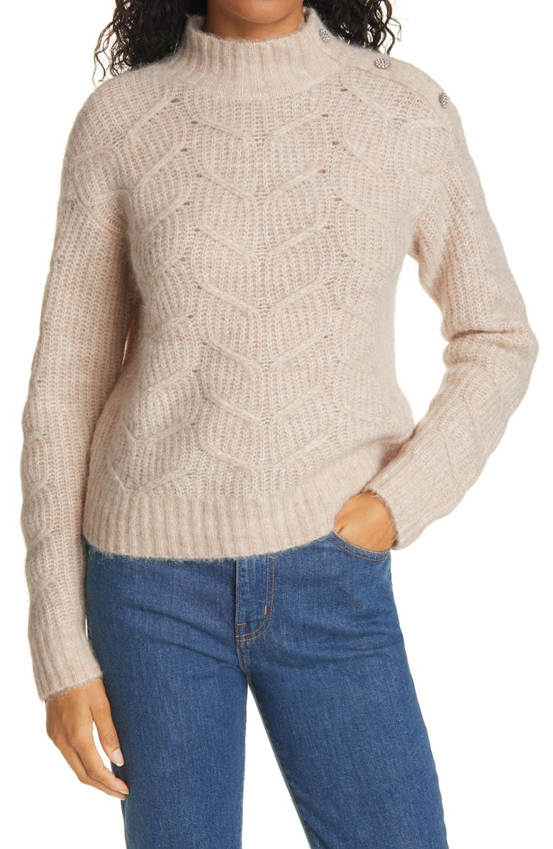 TED BAKER LONDON Rhinestone Button Wool & Alpaca Blend Cable Sweater, Main, color, CAMEL