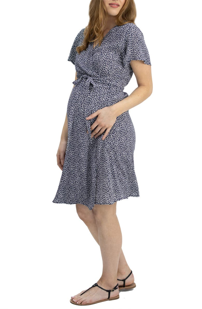 ANGEL MATERNITY Floral Wrap Maternity/Nursing Dress, Main, color, NAVY