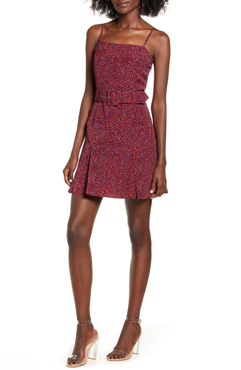 J.O.A. Scattered Dot Belted Minidress, Main, color, WINE DOT