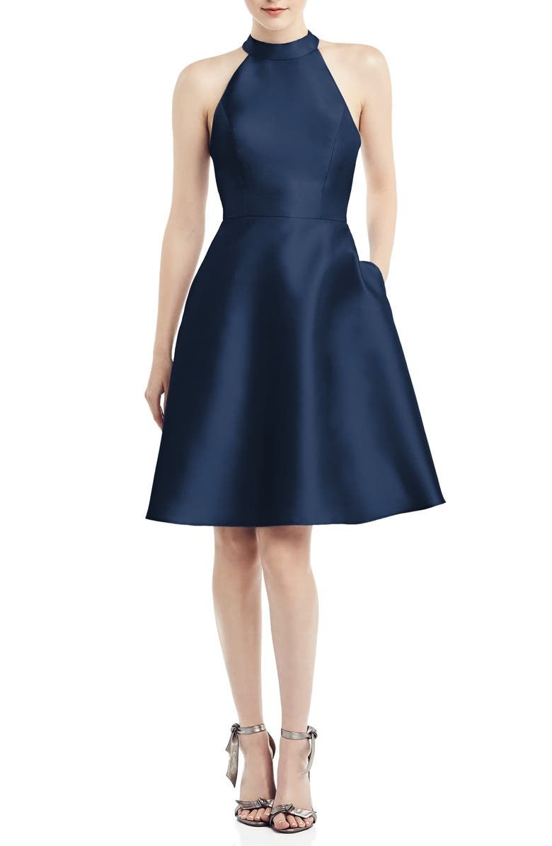 ALFRED SUNG Halter Style Satin Twill Cocktail Dress, Main, color, MIDNIGHT