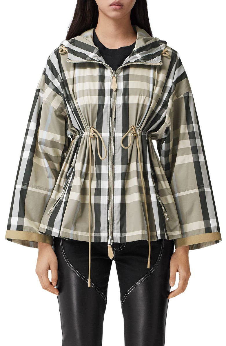 BURBERRY Bacton Check Hooded Jacket, Main, color, DUSTY SAND IP CHECK