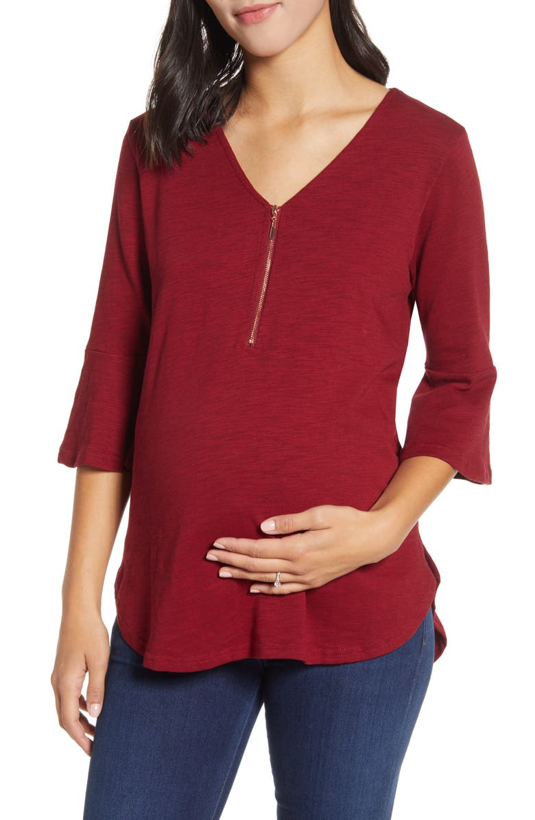 ANGEL MATERNITY Zip Front Bell Sleeve Maternity/Nursing Top, Main, color, RED