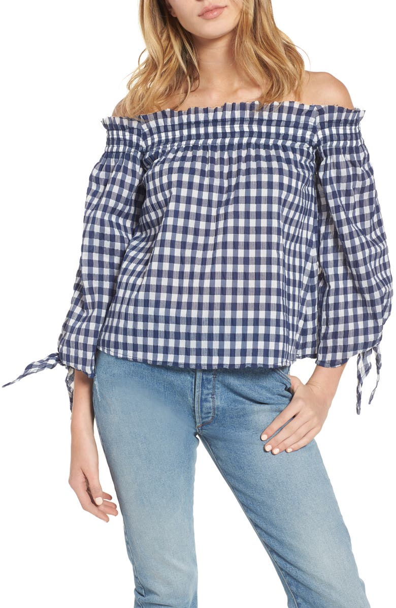 MCGUIRE Pina Gingham Off the Shoulder Top, Main, color, NAVY GINGHAM