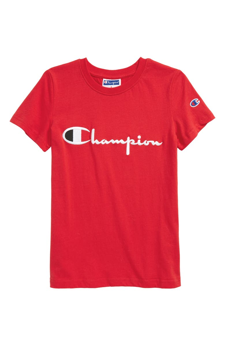 CHAMPION Heritage Signature Embroidered T-Shirt, Main, color, SCARLET