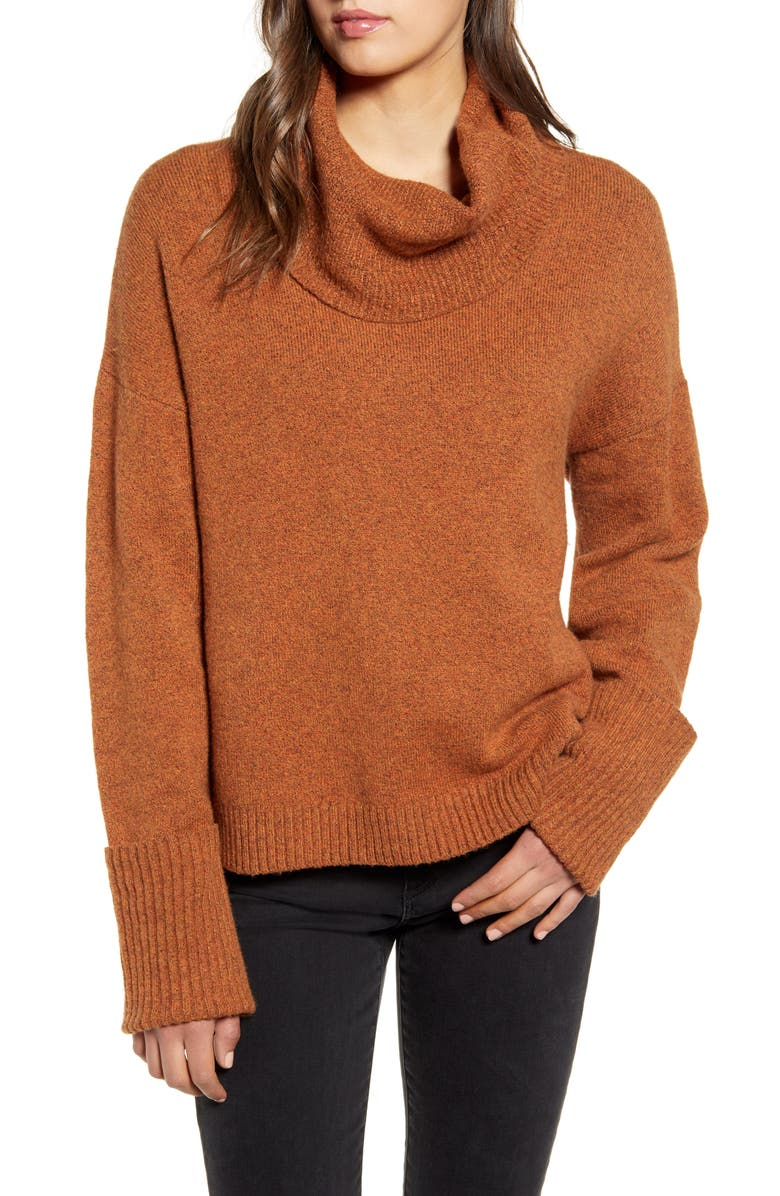 CHELSEA28 Cowl Neck Sweater, Main, color, ORANGE JAM HEATHER