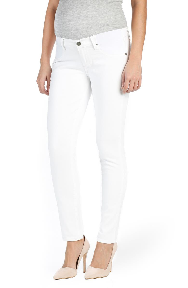 PAIGE 'Skyline' Ankle Peg Skinny Maternity Jeans, Main, color, OPTIC WHITE