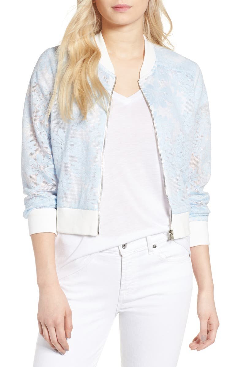 CUPCAKES AND CASHMERE Audrie Grid Mesh Bomber Jacket, Main, color, BLEACHED BLUE