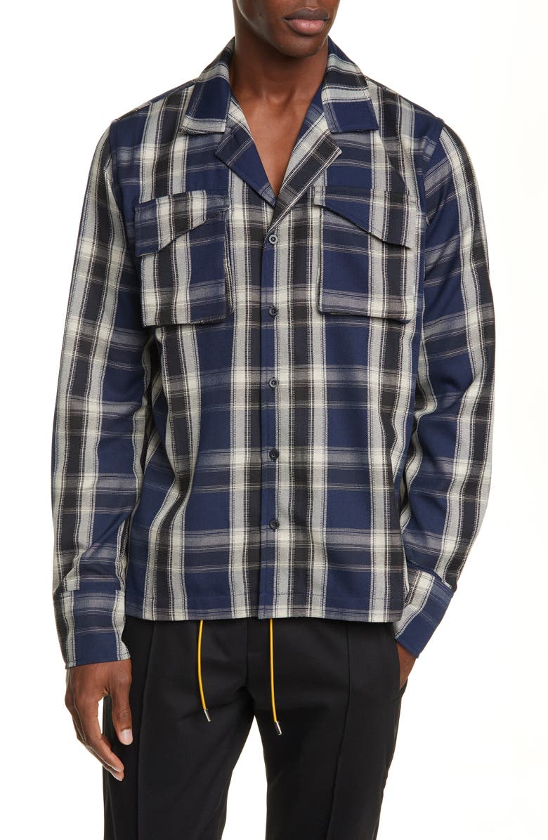 RHUDE Plaid Button-Up Twill Overshirt, Main, color, 400