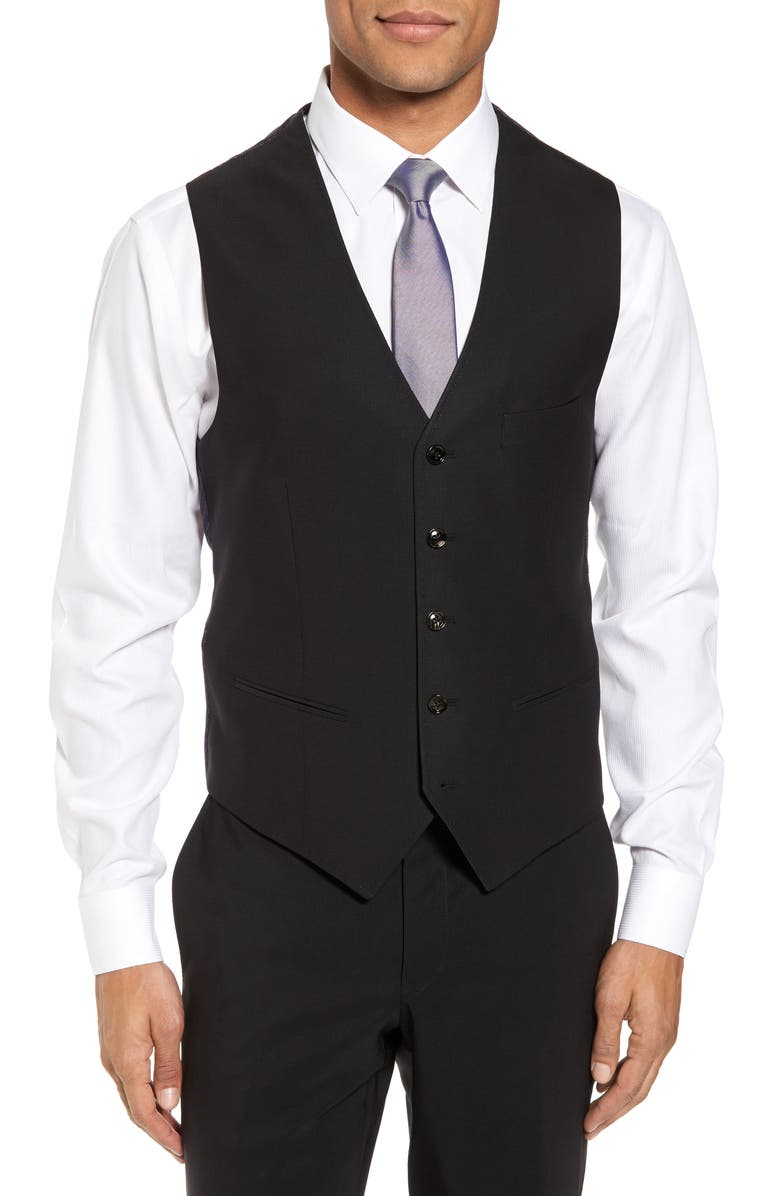 TED BAKER LONDON Slim Fit Solid Wool Vest, Main, color, 001