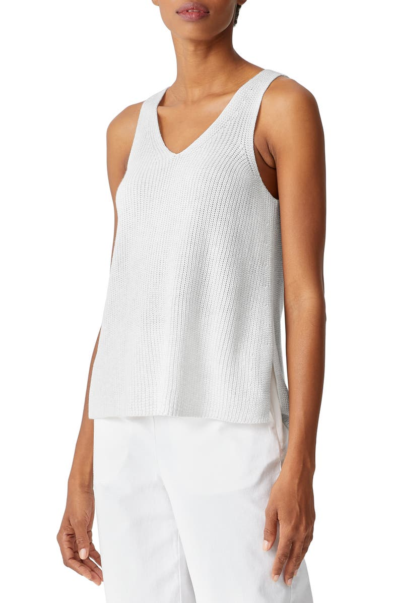 EILEEN FISHER V-Neck Tank Sweater, Main, color, CHALK